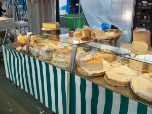 An array of cheese at the Motte-Piquet market